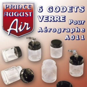 6 godets verre pour aérographe Prince-August A011 (PAAA040)