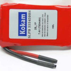 Accu 2S  730mAh 45g. LiPo Kokam (promotion)